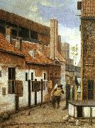 Street Scene with Two Figures Walking Away Jacobus Vrel