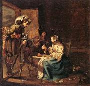 Interior with soldiers and a woman playing cards,an officer watching from a doorway Jacob Duck